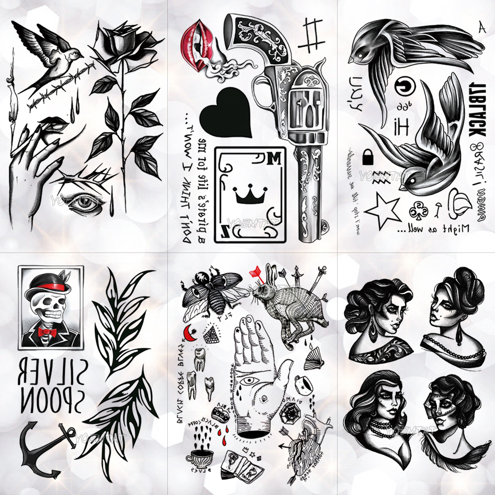 Old School Gun Poker Black Heart Waterproof Temporary Tattoo Sticker Swallow Skull Flash Tattoos Body Art Arm Fake Tatoo Men