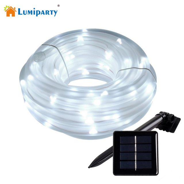 Lumiparty 10m solar rope lights 100 led waterproof outdoor lumiparty 10m solar rope lights 100 led waterproof outdoor decoration lighting string for garden christmas tree mozeypictures Images