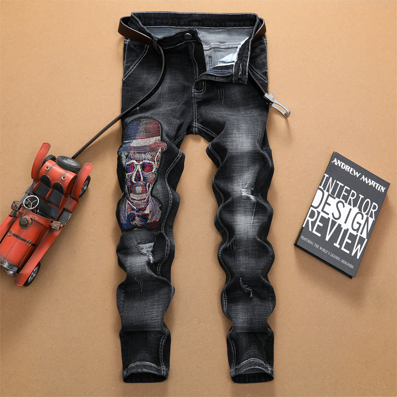 Fashion Men's   Jeans   Skinny Knee Hole Zipper Vintage Embroidery   Jeans   Men Casual Ripped   Jeans   for Men Plus Size