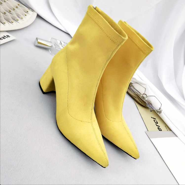 MLJUESE 2019 kadın Orta buzağı boots sarı renk sivri burun fermuarlar sonbahar bahar kadın çizmeler günlük çizmeler boyutu 34-43