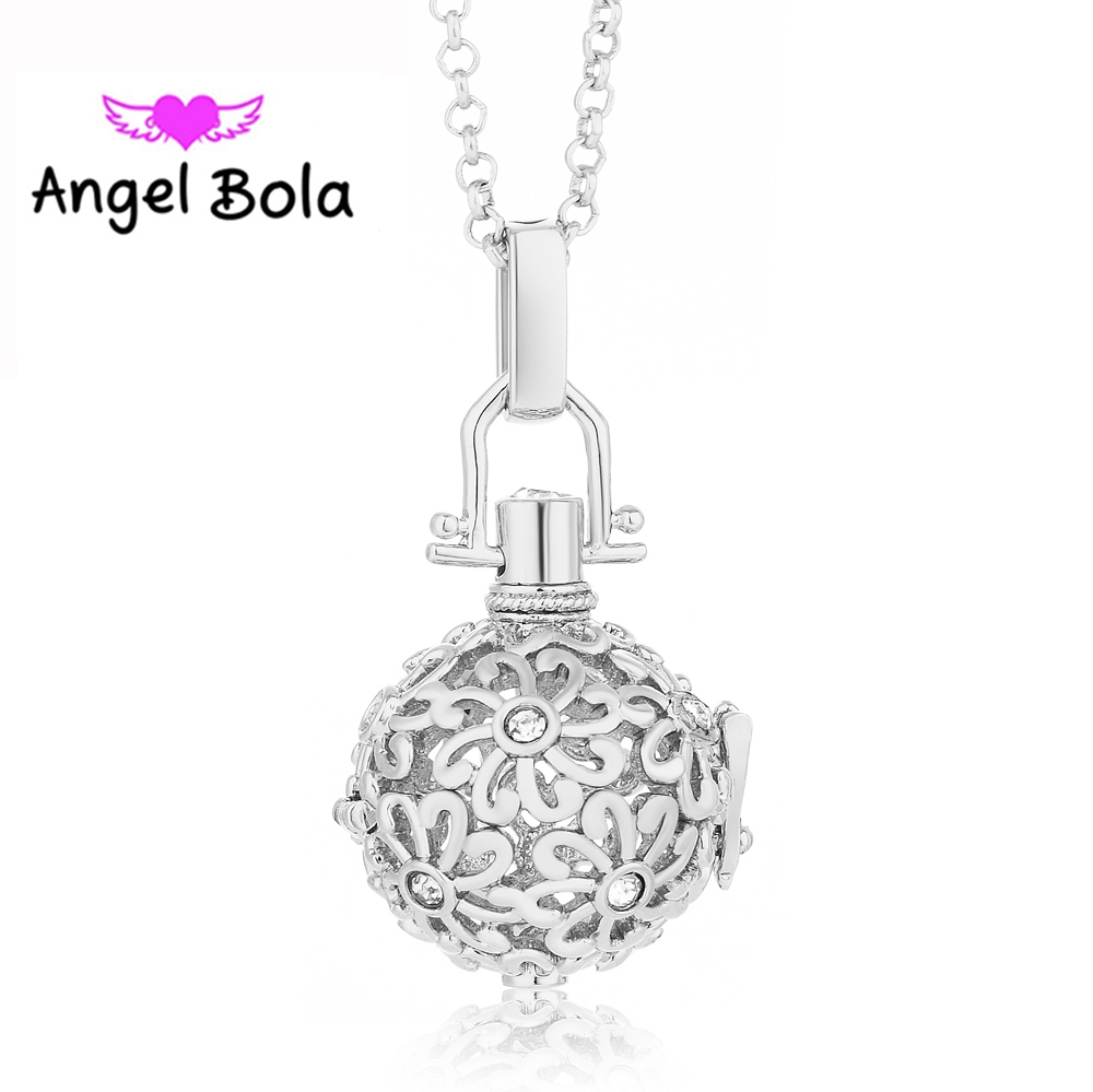 Essential Oil Angel Bola Crystal Inlaid Chrysanthemum Pattern Cage Pendant Sound Harmony Caller Necklace Gift Jewelry L046