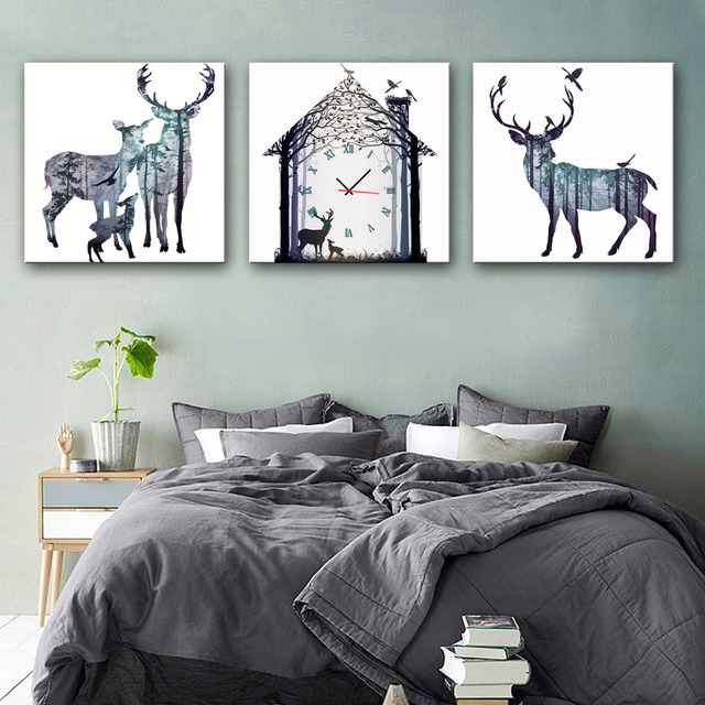 Free Shipping Art Print Fantastic Deer Clock in Canvas 3pcs wall clock