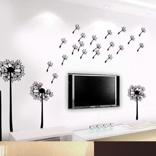 Peinture dansant grand salon décoration stickers muraux en trois dimensions cristal stickers muraux pissenlit