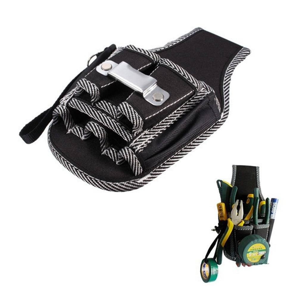 New 1Pc Nylon Fabric Electrician Waist Pocket Tool Stripe Pattern Belt Pouch Bag Screwdriver Utility Kit Holder Case