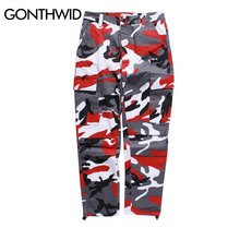 GONTHWID Color Camo Cargo Pants 2017 Mens Fashion Baggy Tactical Trouser Multi Pockets