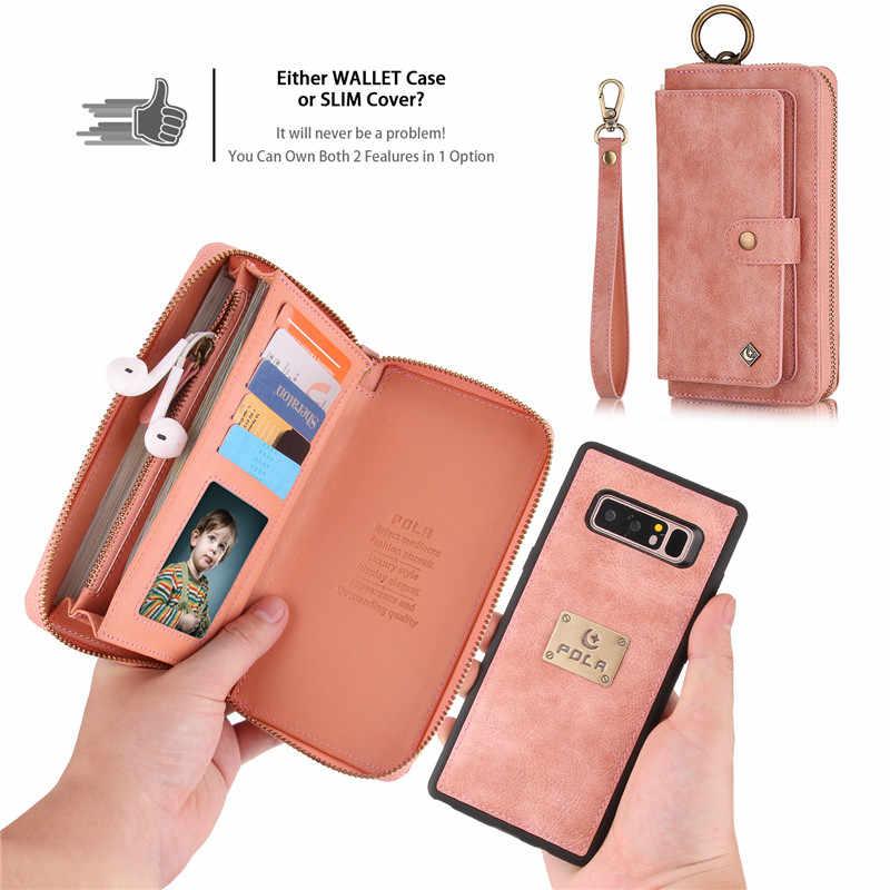 Многофункциональный кожаный кошелек на молнии с отделением для карт чехол для samsung Galaxy S10e Note 8 9 10 Pro S7 Edge S8 S9 S10 Plus Съемная Сумочка для iPhone 11 Pro XS Max XR X 6 6S 7 8 Plus