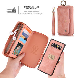 Image 2 - Multifunction Leather Zipper Wallet Card Bag Case For Samsung Galaxy S10e Note 8 9 10 Pro S7 Edge S8 S9 S10 Plus Removable Handbag For iPhone 11 Pro XS Max XR X 6 6S 7 8 Plus