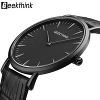 GEEKTHINK Top Brand Luxury Quartz Watch Men Business Casual Black Japan Quartz Watch Genuine Leather Ultra