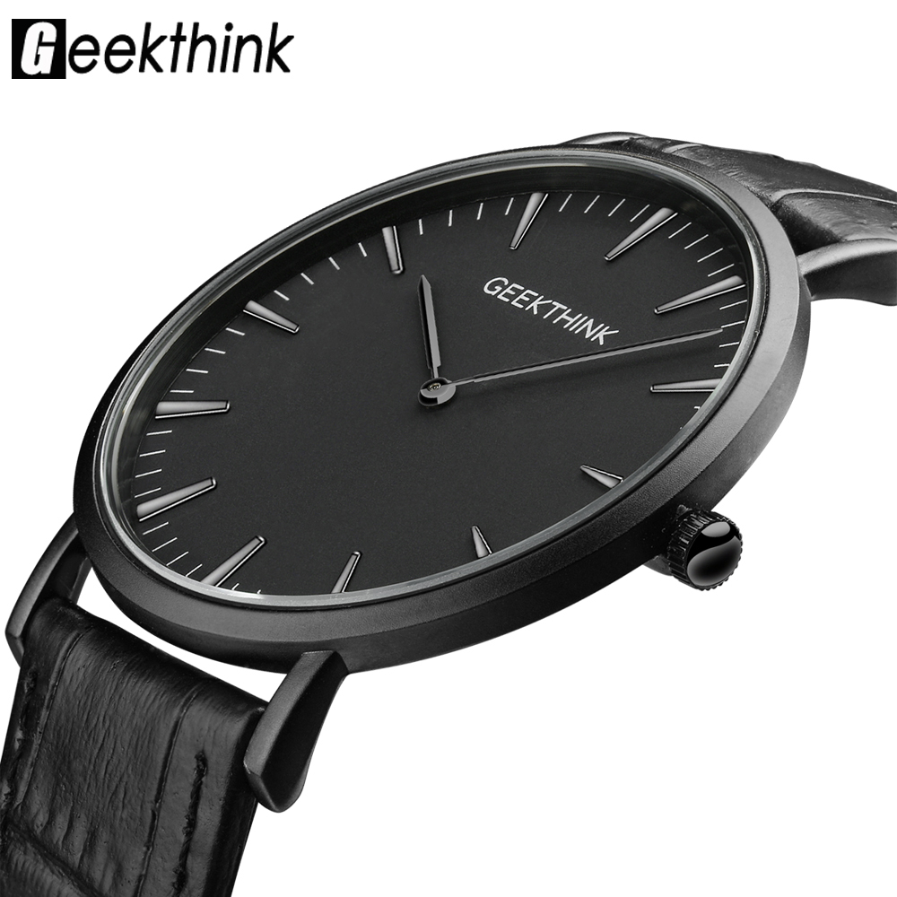 GEEKTHINK Top Brand Luxury Quartz watch män Business Casual Svart Japan Quartz Watch äkta läder ultratunna klocka man Nya