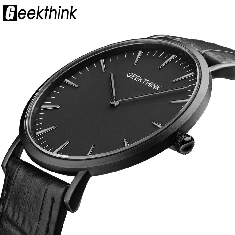 GEEKTHINK Top Brand Luxury Quartz Watch Men Business Casual Black Japan Quartz-watch Genuine Leather Ultra Thin Clock Male New