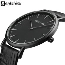 GEEKTHINK Top Brand Luxury Quartz watch men Business Casual Black Japan quartz-watch genuine leather ultra thin clock male New цена и фото
