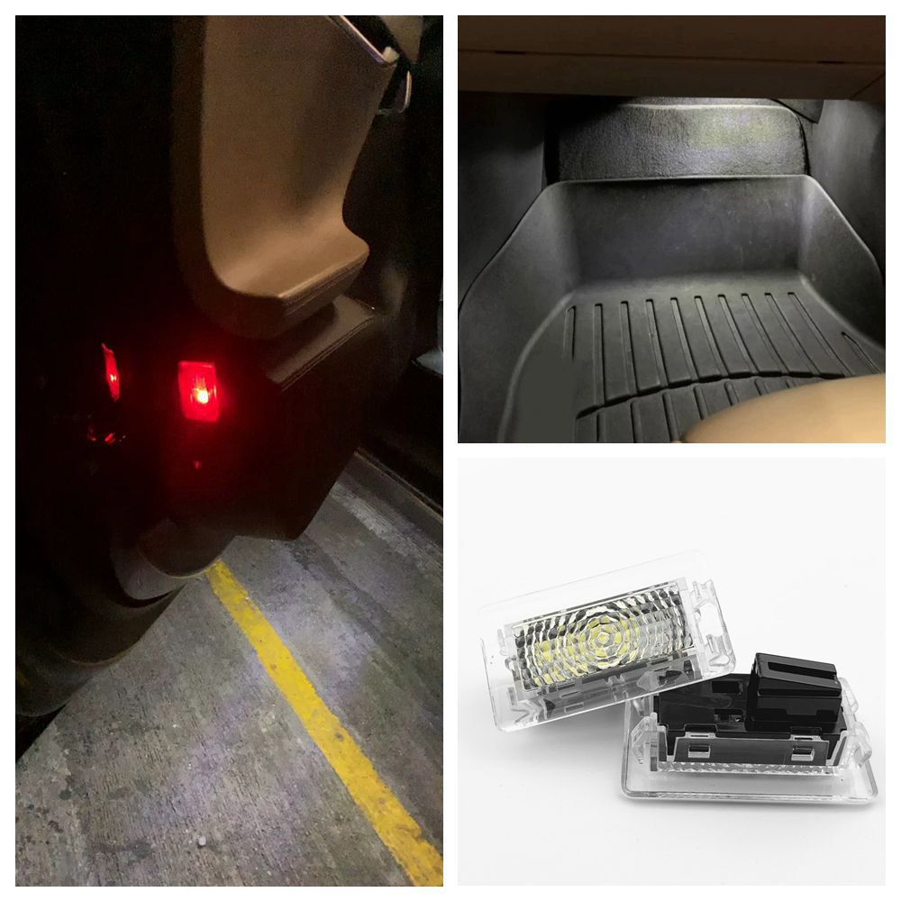 2PCS Ultra-bright White LED (Clear Lens) High Output Interior Light Car Door Lamp Puddle Trunk Light Kit For Tesla Model 3 S X