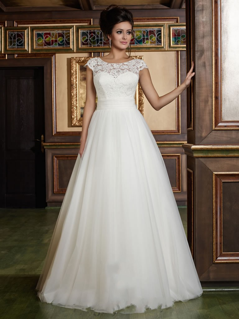 Aliexpress buy elegant white a line wedding dresses aliexpress buy elegant white a line wedding dresses appliques back big lace bow bridal gowns vestido de novia tulle short sleeve wedding dress from ombrellifo Image collections
