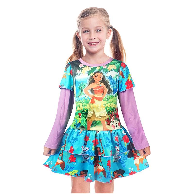 2017 Summer Moana Princess Dress Baby Girls Dresses Children Pearl Party Halloween Costume Kids Girl Vintage Toddler tsum dress