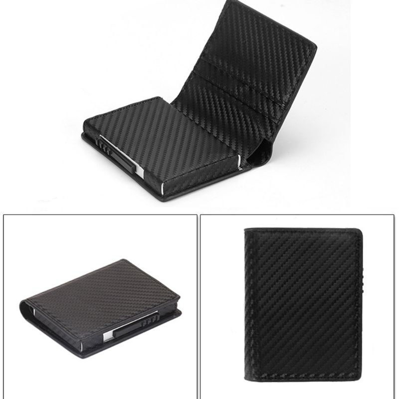 Unisex Leather ID Credit Card Holder RFID Protector Money Wallet Clip Card Case