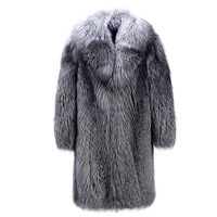 2018 New Fashion Men's Faux Fur Coat Imitation Fox Fur Long Coat Fur One Men's Suit Collar Long Sleeve Imitation Faux Fur Coat