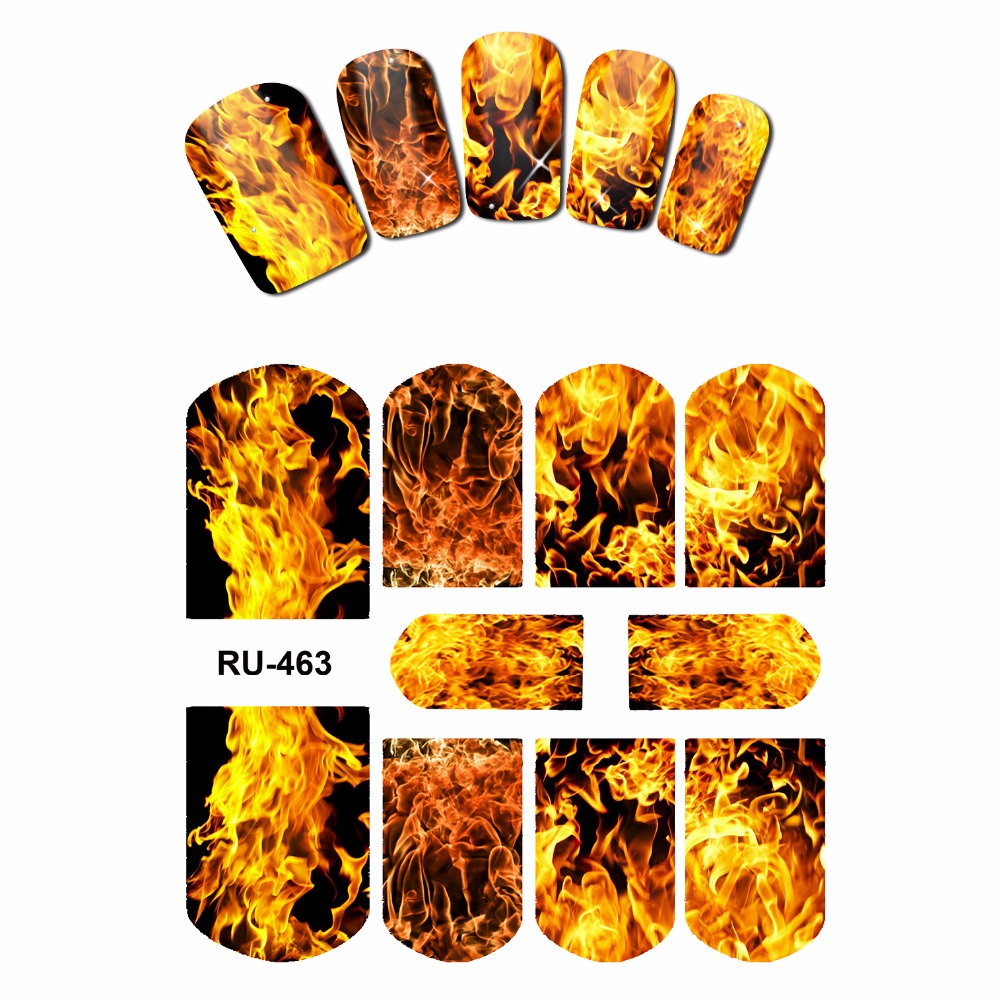 NAIL ART NAIL WATER STICKER DECAL FULL COVER RED BLUE SWEET HEARTS FIRE FLAME BLAZE RU463-468 наклейка sweet hearts поцелуй 53434