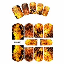 NAIL ART WATER STICKER DECAL FULL COVER RED BLUE SWEET HEARTS FIRE FLAME BLAZE RU463-468