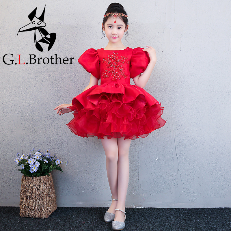 Luxury Red Flower Girl Dress Wedding Birthday Party Dresses For Girls Kids Prom Gowns Beading Ball Gown Children Party Dress A34 luxury mermaid long flower girl dress wedding princess dress red beading evening kids girls dress for birthday party show gowns