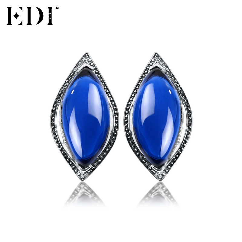 EDI Women Vintage 925 Sterling Thai Silver Earrings Corundum Blue Pink Stud Earrings For Wedding Fine Jewelry From India starry pattern gold plated alloy rhinestone stud earrings for women pink pair