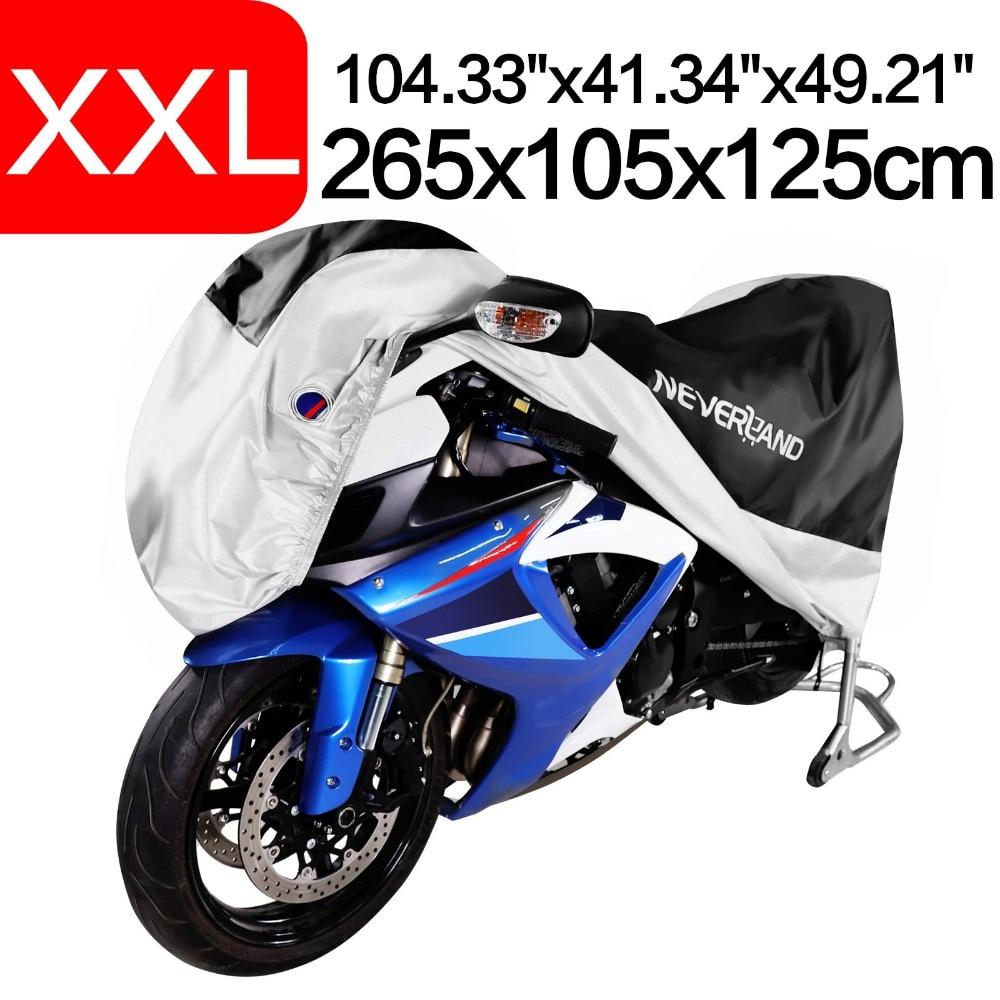 Universal de la motocicleta cubierta impermeable al aire libre UV Protector bicicleta lluvia a prueba de polvo Funda Moto para Scooter cubre XXL 265*105*125 cm