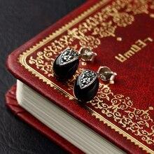 Plata de Ley 925 mujeres Joyería de piedra semipreciosa Natural negro Onyx stud pendientes Retro dama de la moda de la novia de regalo