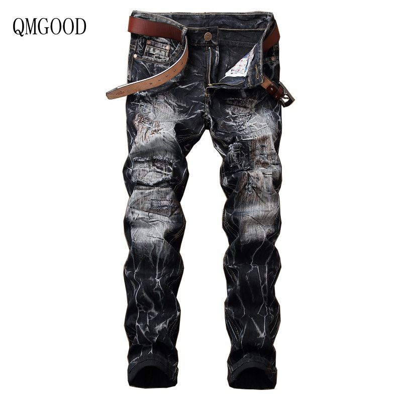 QMGOOD Biker Jeans Men 2017 Hip Hop Mens Ripped Jeans Vintage Retro Denim Pants Luxury Brand Male Distressed Street Wear 36 40