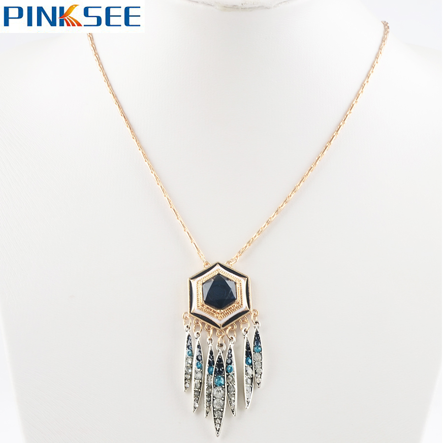 Maxi Simple Chain Multilayer Dreamcatcher Necklace Silver Gold Tone Stone Pendant Tassel Necklace For Women Boho Jewelry