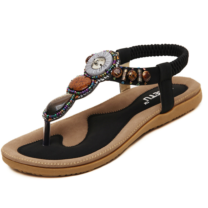 43881bfd64b Free Shipping 2018 New Summer Women Fashion Shoes Bohemian Bead Flat Sandals  PU Leather Comfortably Big Size Shoes SKU10012-in Women s Sandals from Shoes  on ...