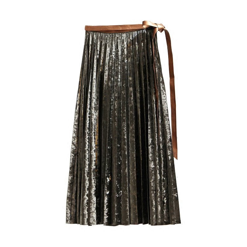 2017 autumn new metal color Korean version of the long paragraph a word pleated skirt with gold velvet high waist skirts