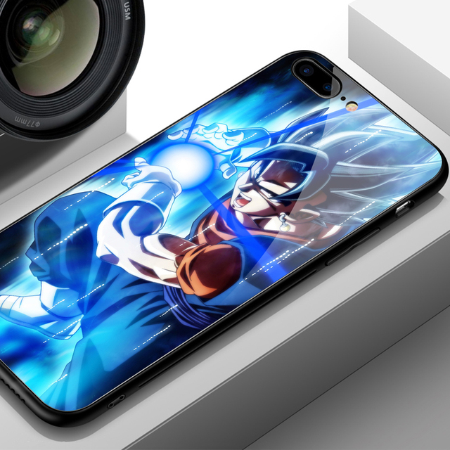Dragon Ball Super Saiyan Tempered Glass Cover Case for iPhone