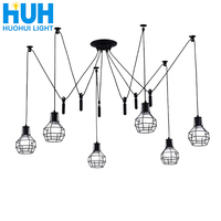 Vintage Restaurant Chandelier Creative Living Room E27 Personality Art Cage Retro Long Stores Lamps Studio Spider Chandelier