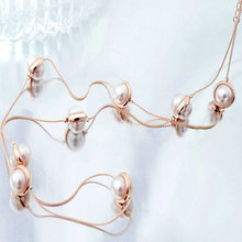 SINZRY Brand new Long Jewelry Rose gold color Simulated pearl long Necklaces women Elegant winter sweater pearl jewelry necklace