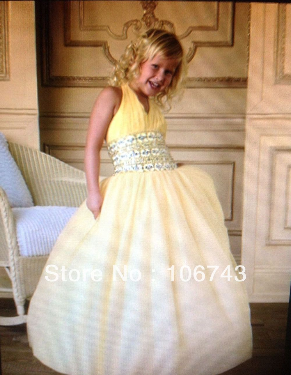 free shipping   girls  , size 14   dresses   2016 white gown Stunning Halter sweet short princess tulle   dress     Flower     Girl     Dresses