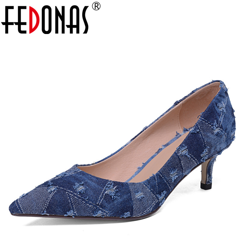 FEDONAS Brand Women Pumps Spring Pointed Toe Stiletto Blue Fashion Dress Bride Shoes Woman High Heeled Office Pumps Female ShoesFEDONAS Brand Women Pumps Spring Pointed Toe Stiletto Blue Fashion Dress Bride Shoes Woman High Heeled Office Pumps Female Shoes