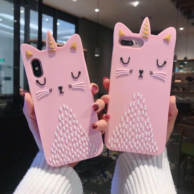 online retailer 28d95 22a9f US $3.09 38% OFF|Soft Silicone Lovely Gold Unicorn Cat Case For iPhone X 7  6 6S 8 Plus Cute Pink Soft Phone Cases Cover For iPhone XS Max XR-in Fitted  ...
