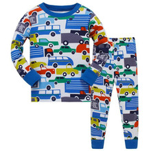 Cotton Long Sleeve Motorcycle Boys Pajamas Children Cartoon Pajamas