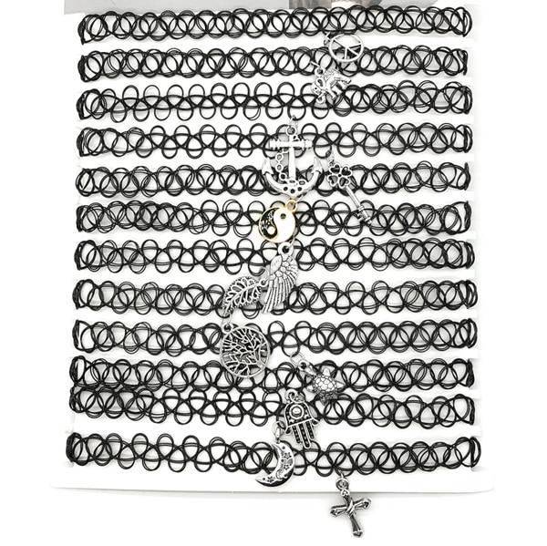 Tatouage Choker Collier 12 Piece Ensemble Croix Feuille Plume