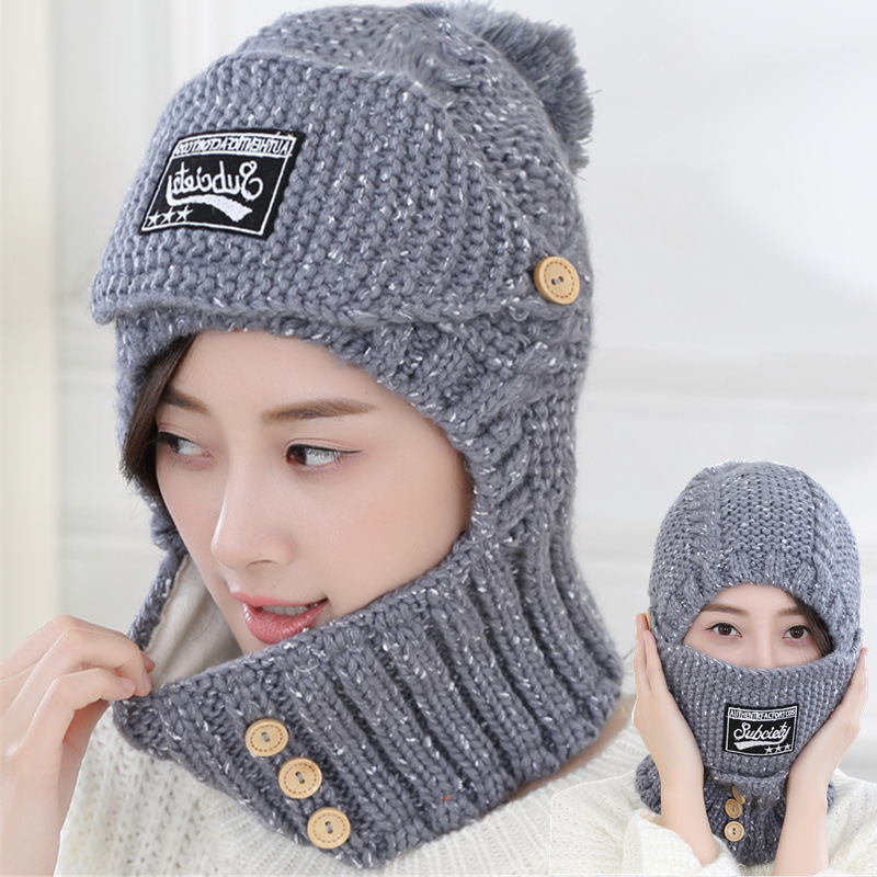 10236c6defba3 2018 New Winter Warm Korean Women Knitted Velvet Beanie Hats With Mask  Scarf Ring Wool Casual Skullies Bonnet Caps Wholesale-in Skullies   Beanies  from ...