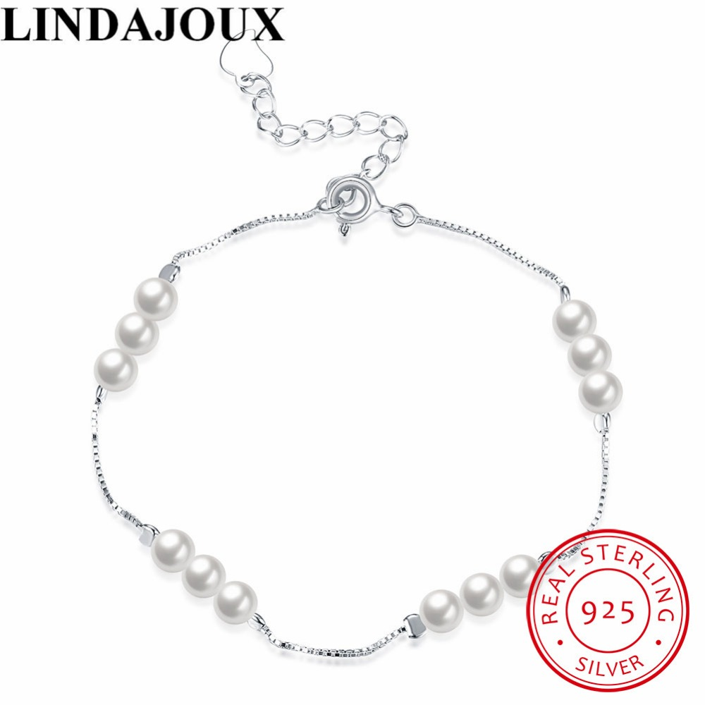 LINDAJOUX Fashion 925 Sterling Silver Jewelry Small Pearl Charm Bracelets For Women Wedding Jewelry Party Gift Wholesale