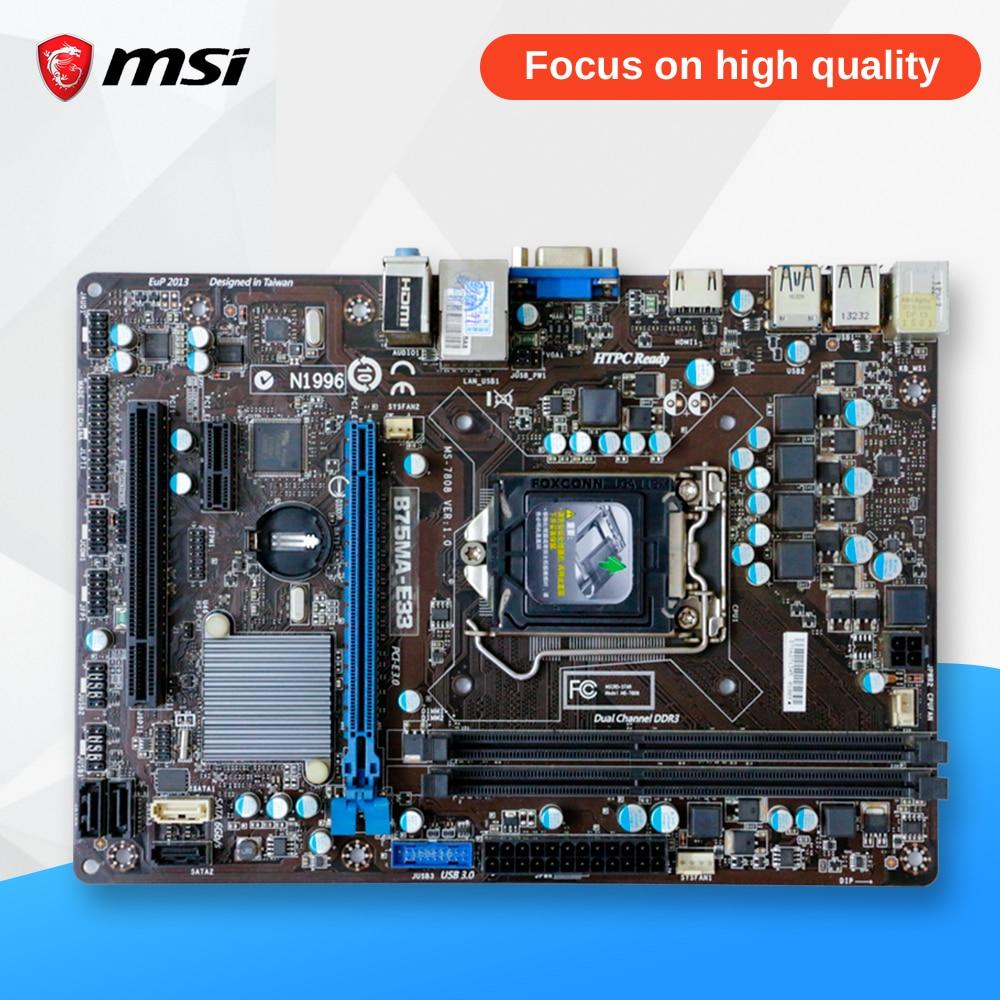 MSI B75MA-E33 Original Used Desktop Motherboard B75 Socket LGA 1155 i3 i5 i7 DDR3 Micro-ATX On Sale asrock b75 pro3 m original used desktop motherboard b75 socket lga 1155 i3 i5 i7 ddr3 32g usb3 0 micro atx