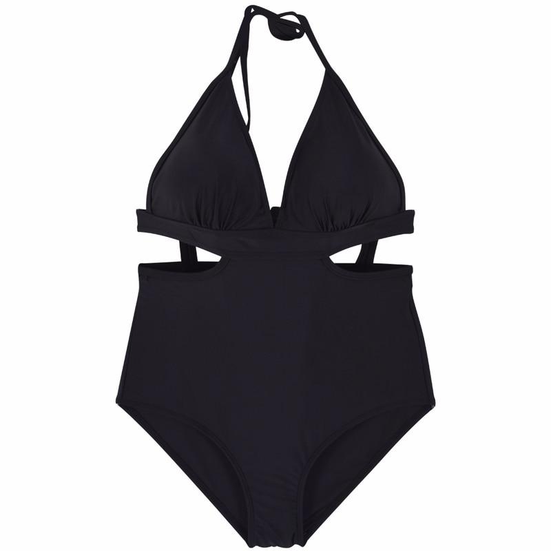 Sexy One Piece Swimsuit Solid Swimwear High Waist Beachwear Women Sling Halter Bathing Suit Female Backless Monokini 2018 3XL цена