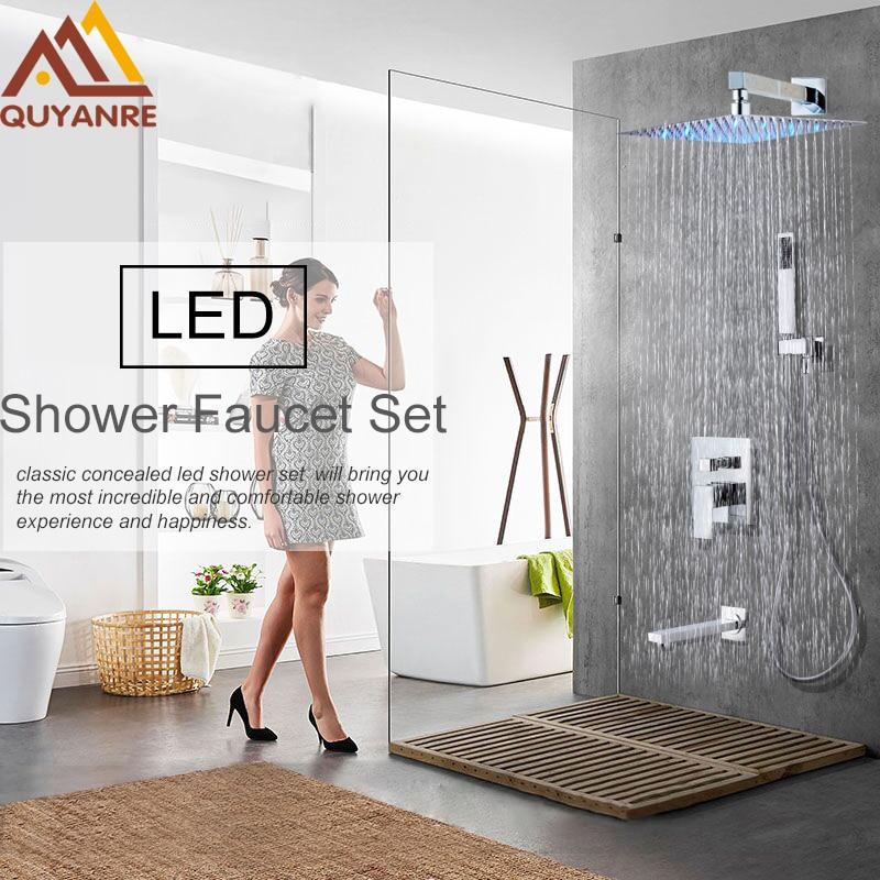 Quyanre Concealed LED Change Rainfall Shower Faucets Set Ultrathin Shower Head Mixer Sink Tap Handheld Shower Faucet Water S quyanre concealed rainfall shower head system chrome bath