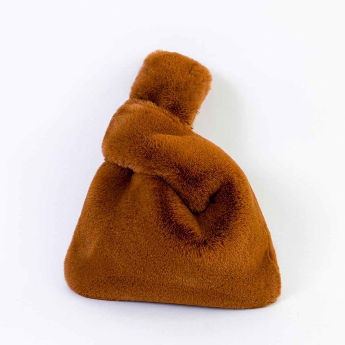Super Soft Faux Rabbit Fur Handbag Leopard Fur Handbag Cute Vest Shape Handbag Crossover Chain Fur Drawstring Bags Shopping Bags