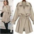 Mulheres blusão Turn down coleiras casaco bege Slim com cinto de médio longo lapela trench Coat Mme blusão Coupe - Vent