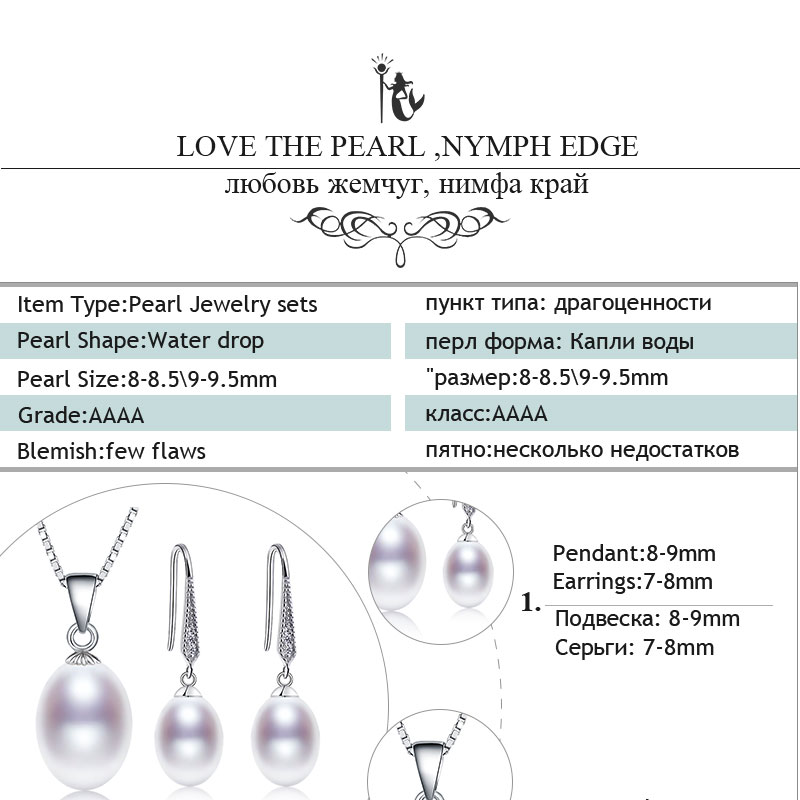 HTB1pShwkStYBeNjSspaq6yOOFXa1 NYMPH pearl jewelry sets natural freshwater pearl pendant earrings s925 sterling silver party gift T219