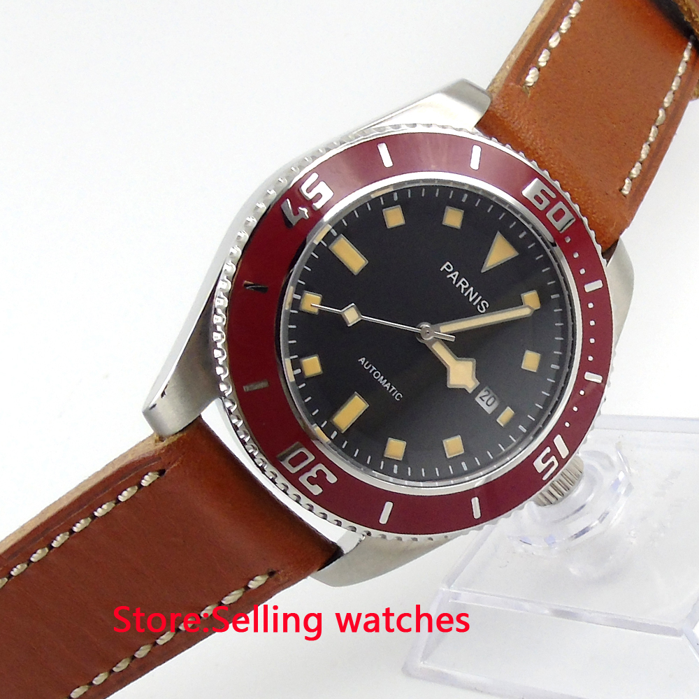 Купить 43mm Parnis Black Dial Yellow Mark Sapphire Glass Automatic Mens Watch в интернет-магазине дешево