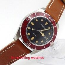43 мм Parnis черный циферблат желтой меткой сапфировое стекло автоматическая мужские часы