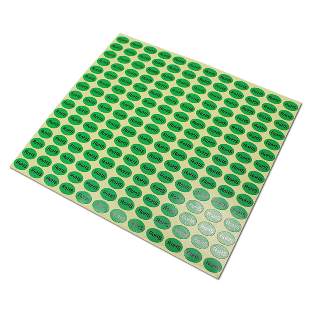 Self-adhesive Black RoHS Printing Packing Stickers Oval Green Paper Environmental Protection Label Sheet For Electronic Products