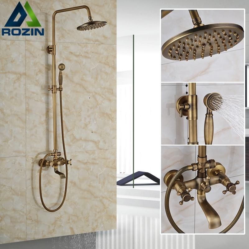 Европейский стиль античная Ванна смеситель для душа комплект настенное крепление античный 8 дождевая душевая головка ванна Наполнитель Ва...